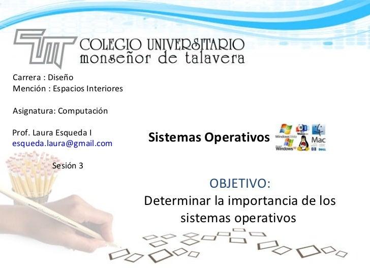 Carrera : Diseño  Mención : Espacios Interiores Asignatura: Computación Sistemas Operativos Prof. Laura Esqueda I  [email_...