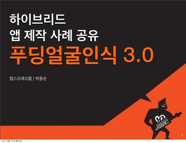 하이브리드     앱 제작 사례 공유     푸딩얼굴인식 3.0     앱스프레소랩 | 박종순                    112년 10월 29일 월요일