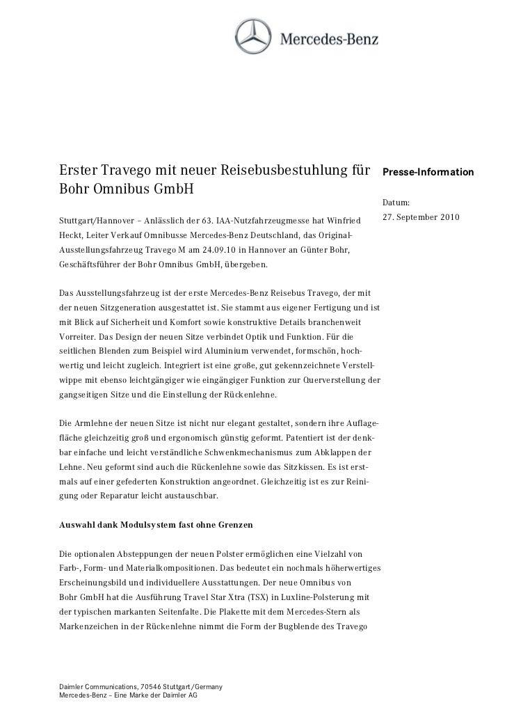 Erster Travego mit neuer Reisebusbestuhlung für                                        Presse-InformationBohr Omnibus GmbH...