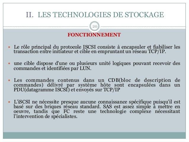 20 FONCTIONNEMENT — Le rôle principal du protocole ISCSI consiste à encapsuler et fiabiliser les transaction entre initi...