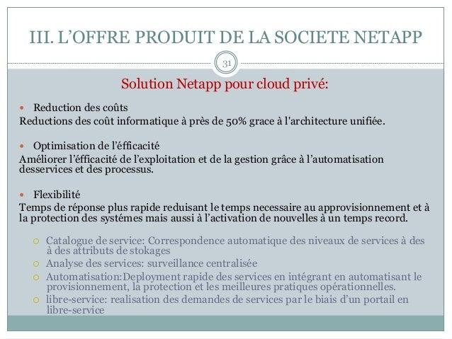 III.L'OFFRE PRODUIT DE LA SOCIETE NETAPP Solution Netapp pour cloud privé: — Reduction des coûts Reductions des coût in...