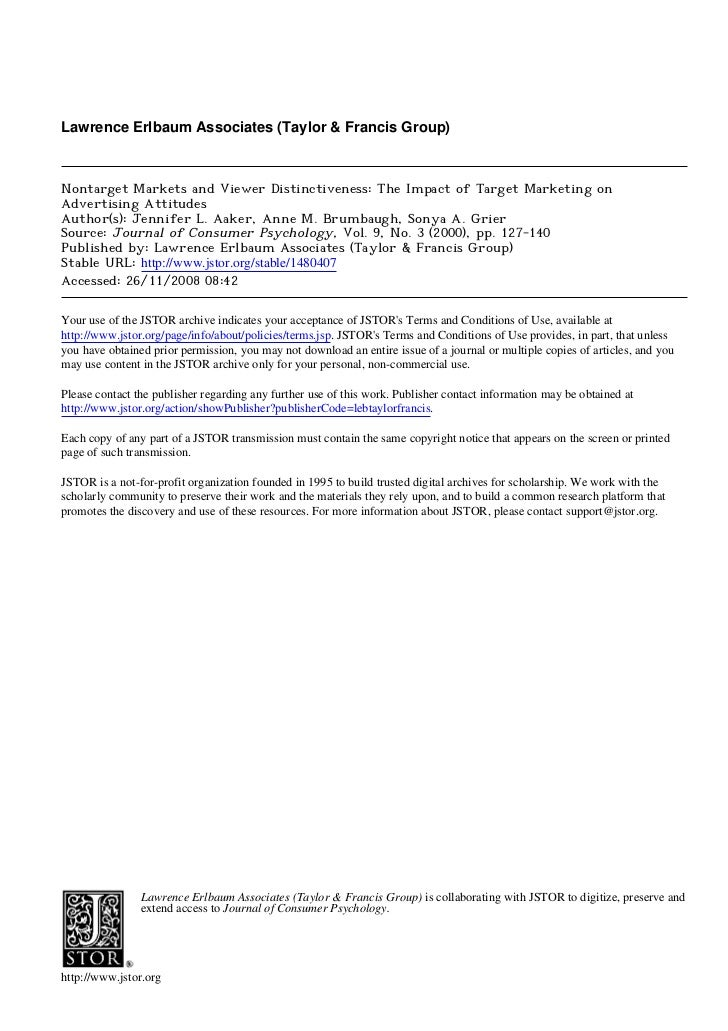 Lawrence Erlbaum Associates (Taylor & Francis Group)Nontarget Markets and Viewer Distinctiveness: The Impact of Target Mar...