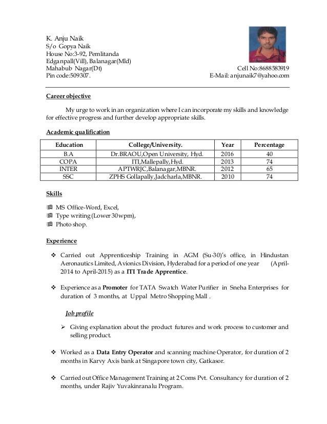 K. Anju Naik S/o Gopya Naik House No:3-92, Pemlitanda Edganpall(Vill), Balanagar(Mld) Mahabub Nagar(Dt) Cell No:8688583919...