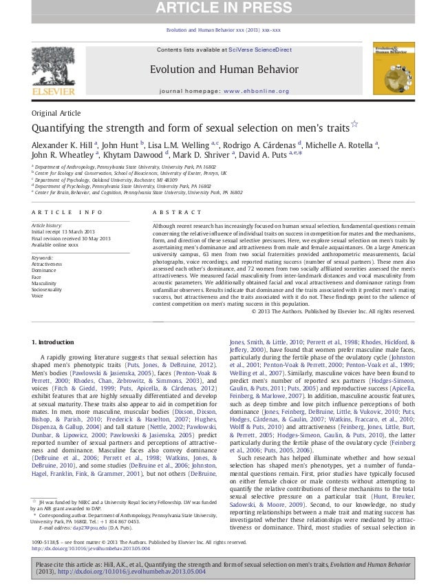 Original Article Quantifying the strength and form of sexual selection on men's traits☆ Alexander K. Hill a , John Hunt b ...