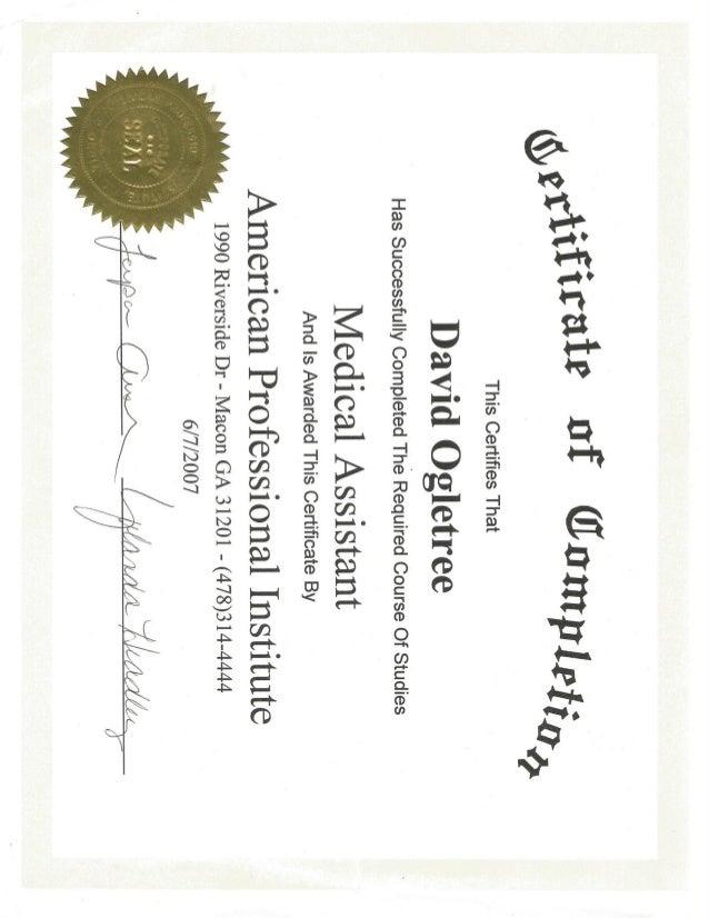Superior Davidu0027s Medical Assistant Certificate June 2007