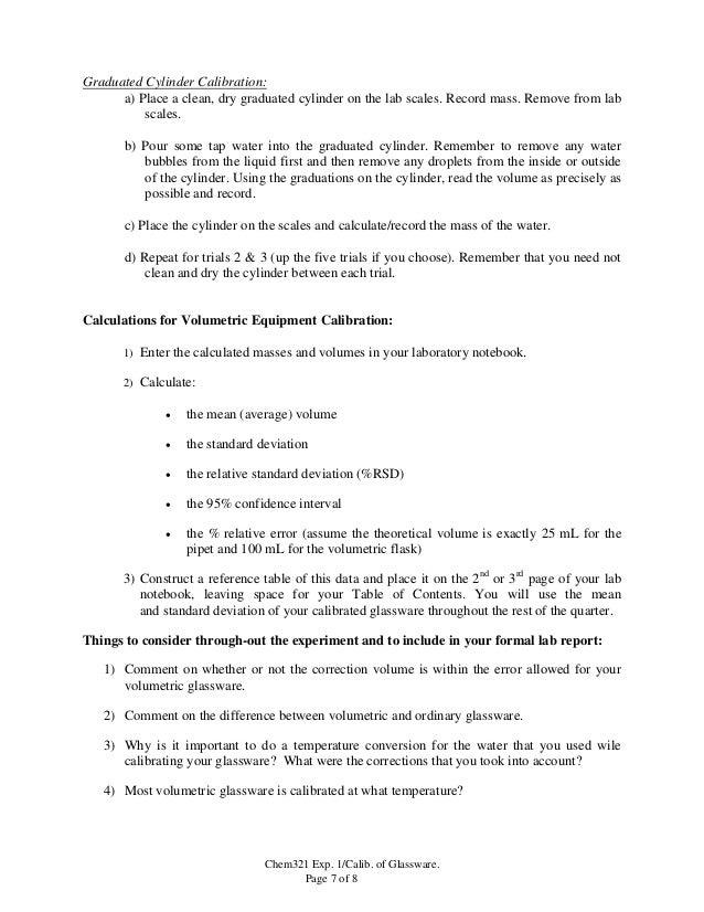 calibration of volumetric glassware lab report discussion