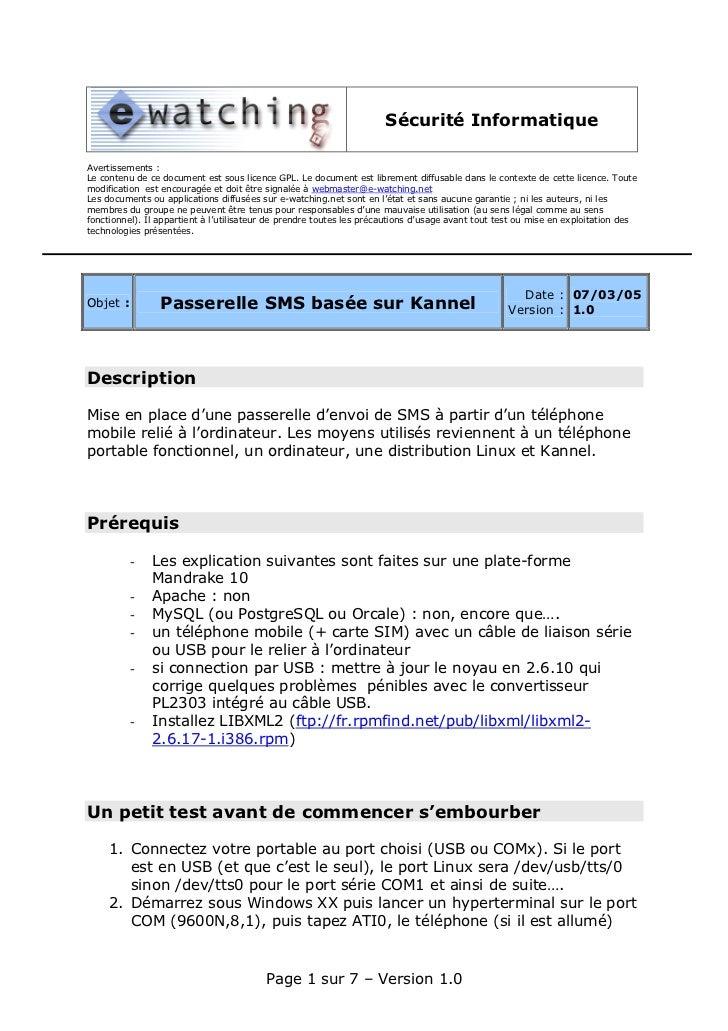 Sécurité InformatiqueAvertissements :Le contenu de ce document est sous licence GPL. Le document est librement diffusable ...