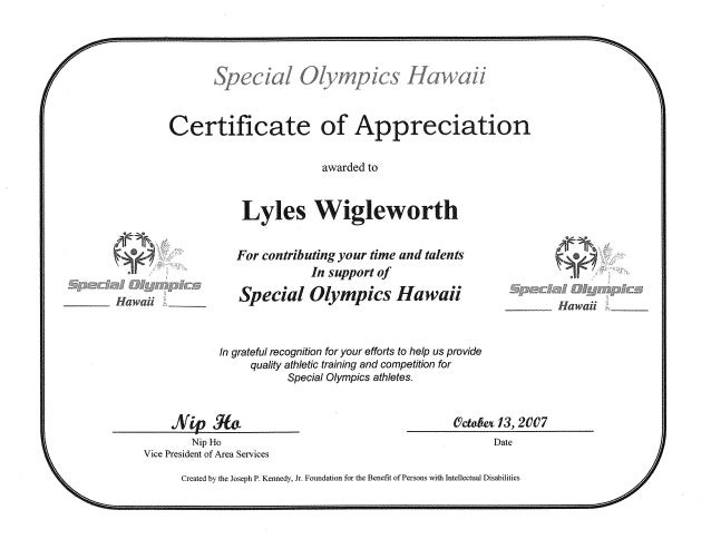 special olympics certificate of appreciation