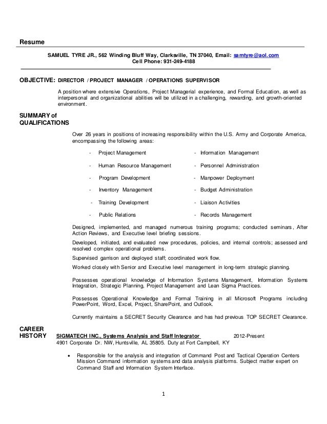 Sam Tyre Project Manager Resume