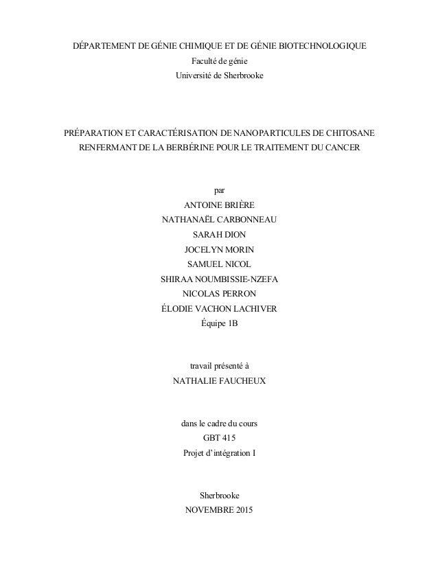 DÉPARTEMENT DE GÉNIE CHIMIQUE ET DE GÉNIE BIOTECHNOLOGIQUE Faculté de génie Université de Sherbrooke PRÉPARATION ET CARACT...