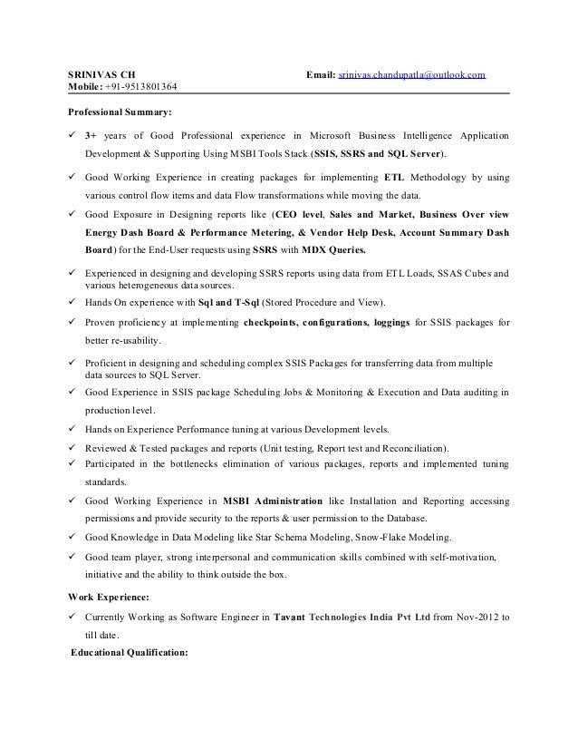 SRINIVAS CH Email: srinivas.chandupatla@outlook.com Mobile: +91-9513801364 Professional Summary:  3+ years of Good Profes...
