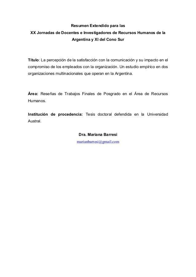 Resumen Extendido para las XX Jornadas de Docentes e Investigadores de Recursos Humanos de la Argentina y XI del Cono Sur ...