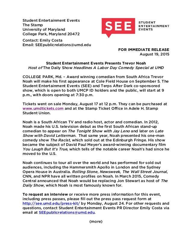 Trevor Noah Press Release