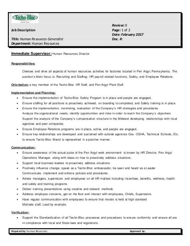 hr generalist job description - Monza berglauf-verband com