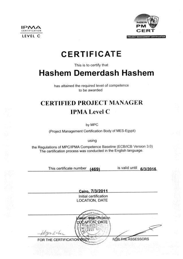 Hashem Demerdash Ipma Certificate