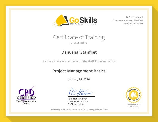 GoSkills Certificate - Danusha Stanfliet - Project Management Basics