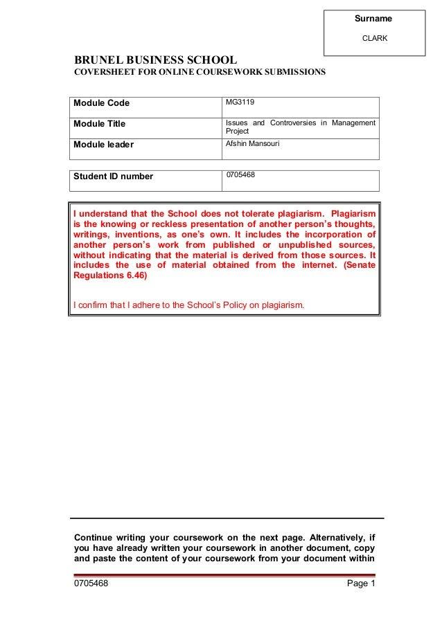 brunel dissertation plagiarism