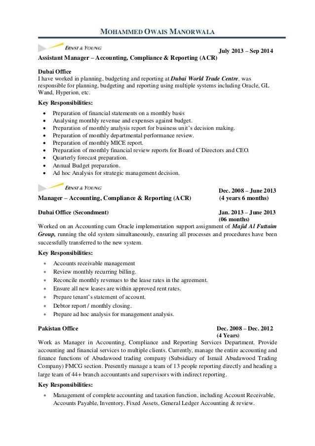 account receivable resume