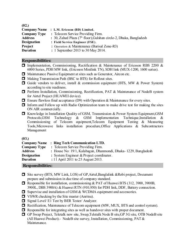field service engineer resume samples