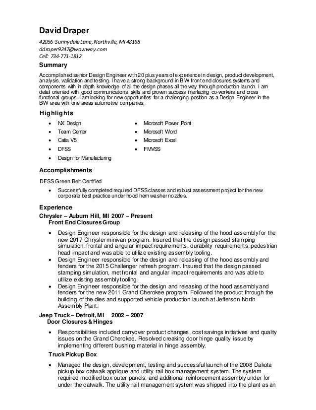 David Draper 42056 SunnydaleLane,Northville,MI48168 ddraper9247@wowway.com Cell: 734-771-1812 Summary Accomplished senior ...