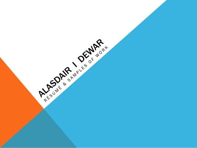 Al Dewar Resume & Samples 2016