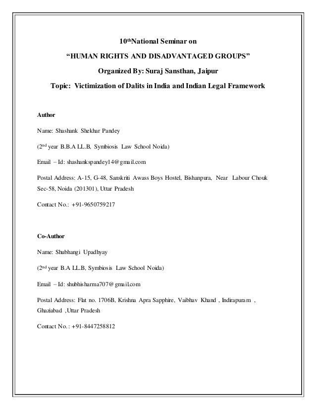 "10th National Seminar on ""HUMAN RIGHTS AND DISADVANTAGED GROUPS"" Organized By: Suraj Sansthan, Jaipur Topic: Victimization..."