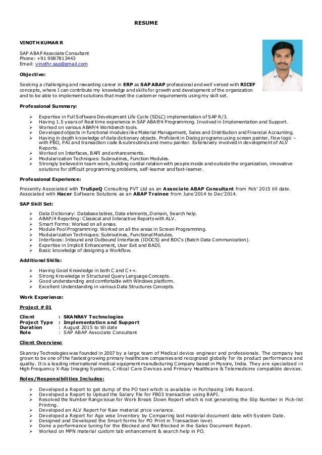 vinoth sap abap associate consultant