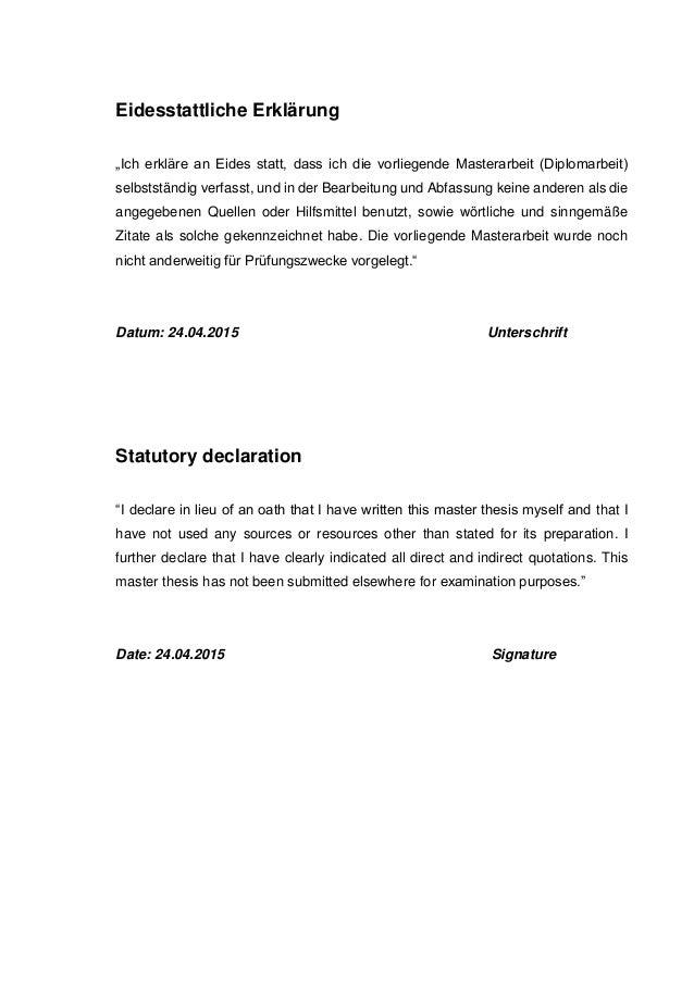 eidesstattliche erklärung master thesis