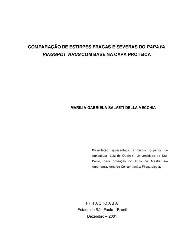 COMPARAÇÃO DE ESTIRPES FRACAS E SEVERAS DO PAPAYA RINGSPOT VIRUS COM BASE NA CAPA PROTÉICA MARILIA GABRIELA SALVETI DELLA ...