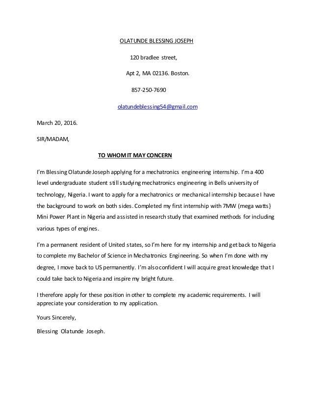 Good OLATUNDE BLESSING JOSEPH Cover Letter. OLATUNDE BLESSING JOSEPH 120 Bradlee  Street, Apt 2, MA 02136. Boston. 857
