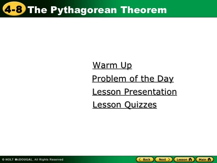 Warm Up Lesson Presentation Problem of the Day Lesson Quizzes