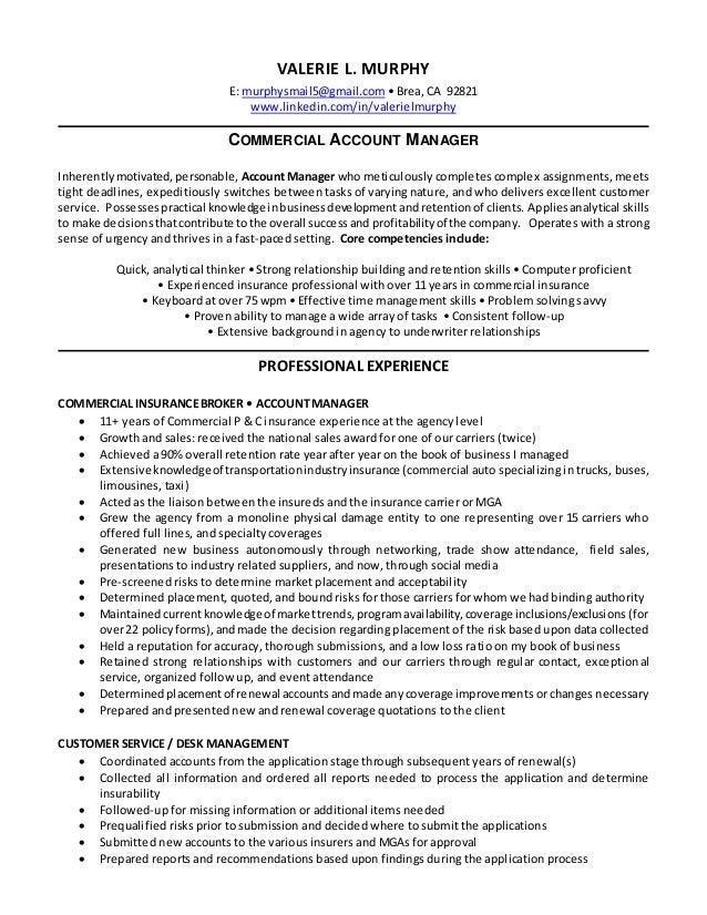 valerie l murphy resume commercial account manager