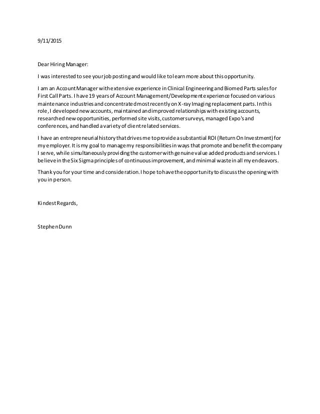 Cover Letter Medical Devices 2015