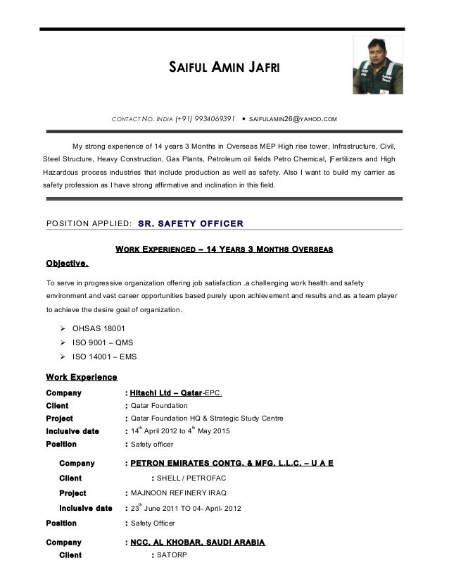 resume for safety officer template