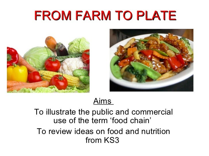 FROM FARM TO PLATE Aims  To illustrate the public and commercial use of the term 'food chain'  To review ideas on food and...
