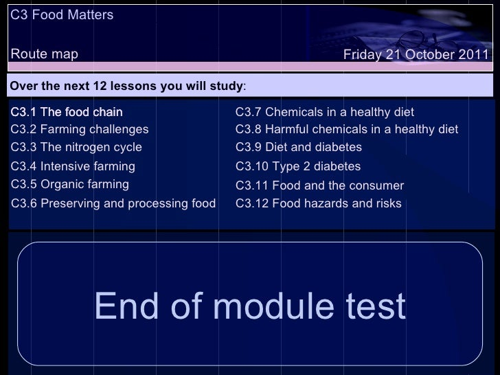 C3 Food Matters Route map Over the next 12 lessons you will study : Friday 21 October 2011 C3.1 The food chain C3.2 Farmin...