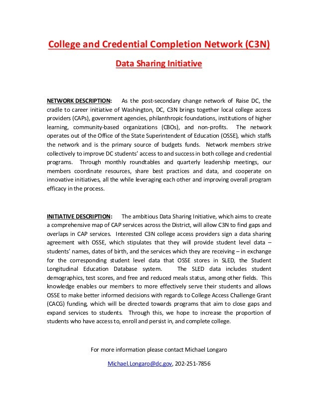 College and Credential Completion Network (C3N)                           Data Sharing InitiativeNETWORK DESCRIPTION:     ...