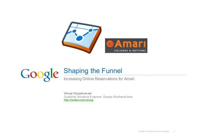 Google Confidential and Proprietary 1 Shaping the Funnel Increasing Online Reservations for Amari Vinoaj Vijeyakumaar Cust...