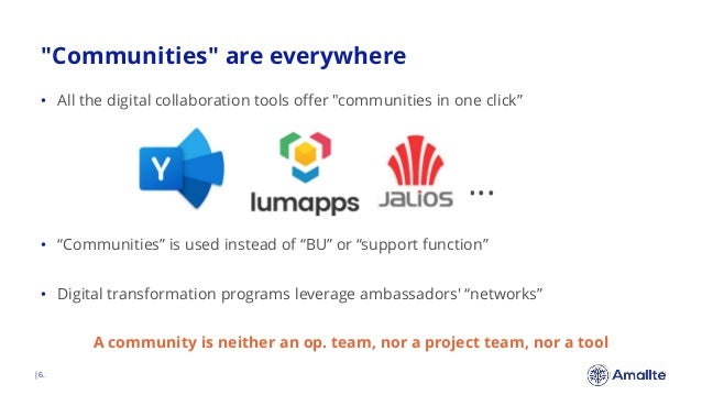 """""""Communities"""" are everywhere  6. • All the digital collaboration tools offer """"communities in one click"""" … • """"Communities"""" ..."""