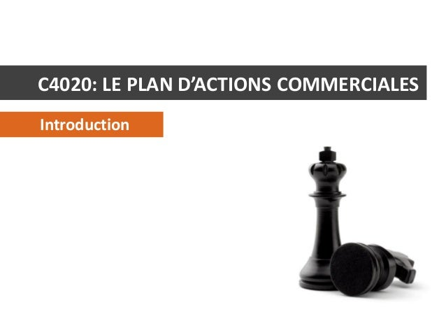 C4020: LE PLAN D'ACTIONS COMMERCIALES Introduction