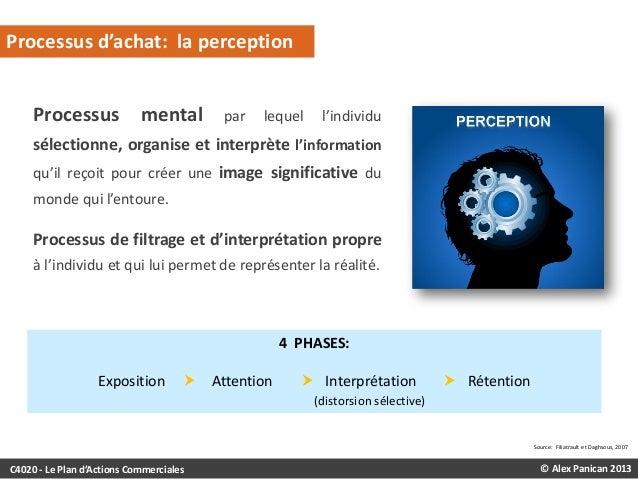Processus d'achat: la perception Processus mental  par  lequel  l'individu  sélectionne, organise et interprète l'informat...