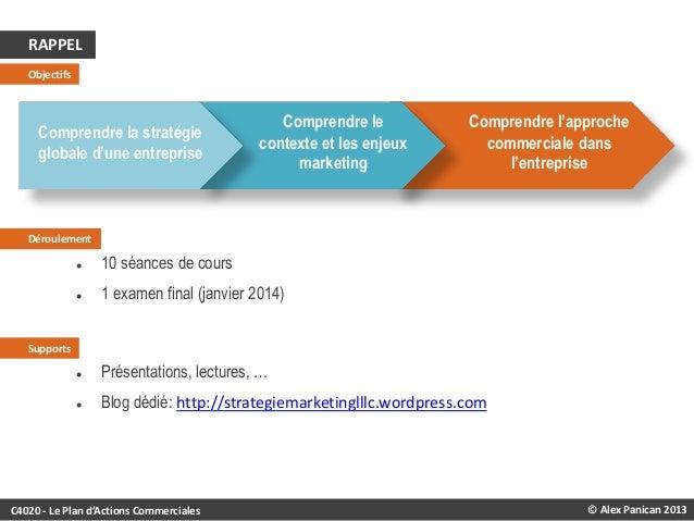 RAPPEL Objectifs  Comprendre la stratégie globale d'une entreprise  Comprendre le contexte et les enjeux marketing  Compre...