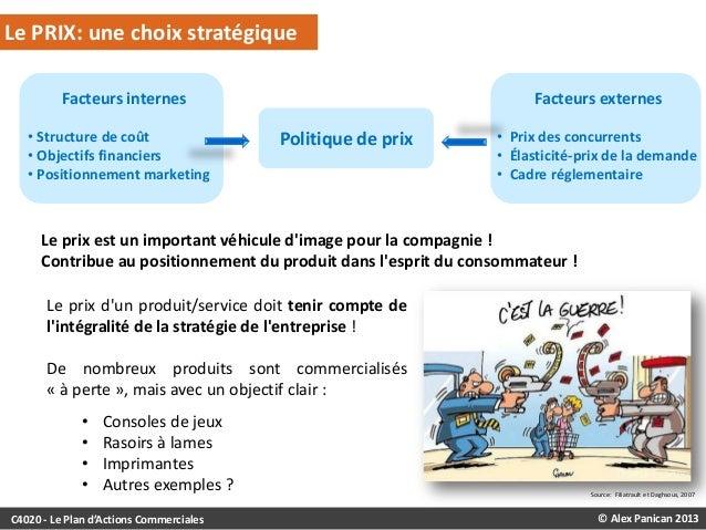 Le PRIX: une choix stratégique Facteurs internes • Structure de coût • Objectifs financiers • Positionnement marketing  Fa...