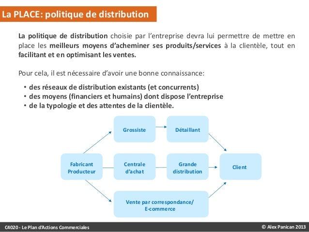 La PLACE: politique de distribution La politique de distribution choisie par l'entreprise devra lui permettre de mettre en...
