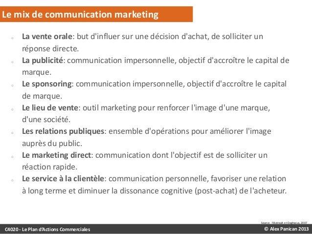Le mix de communication marketing o  o  o  o  o  o  o  La vente orale: but d'influer sur une décision d'achat, de sollicit...