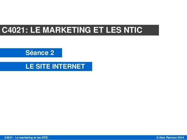 © Alex Panican 2014C4021 - Le marketing et les NTIC Module C4021 Session 2 LE SITE INTERNET Mars 2013 C4021: LE MARKETING ...