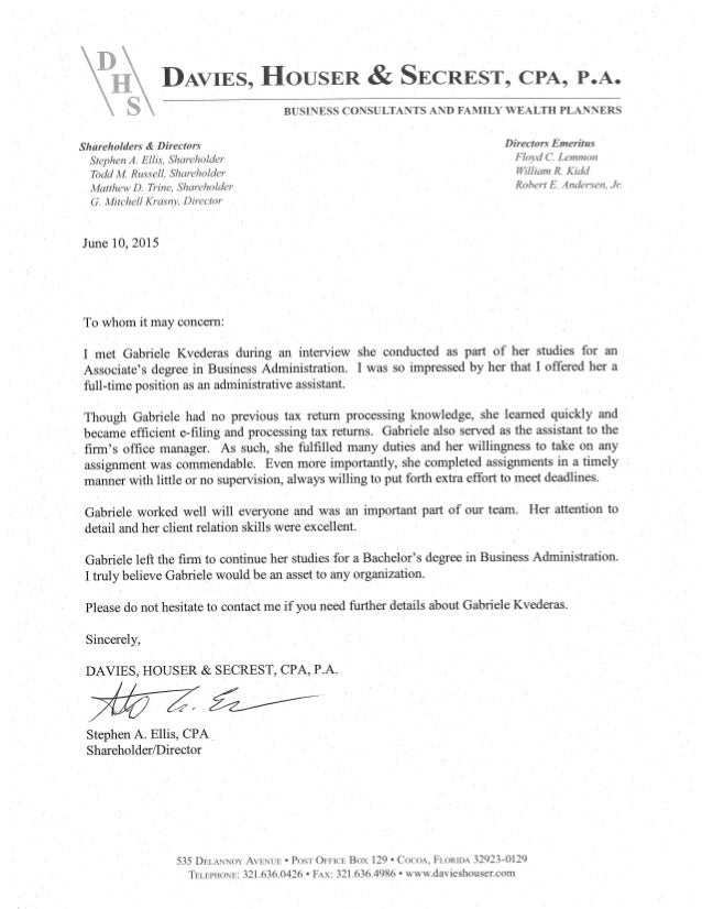 reference letter davies houser cpa
