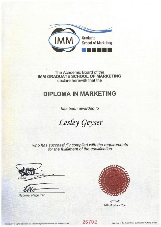 Imm Diploma In Marketing