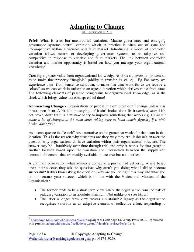 Page 1 of 4 © Copyright Adapting to Change Walter.deruyter@unitingagedcare.org.au ph 0417419238 Adapting to Change 18-3-12...