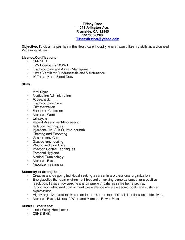 Lvn Resume Tiffany Rose